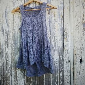 Grey Lace Peplum Tank